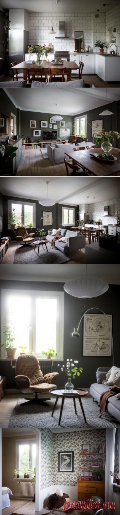 Крашеные стены и деревянный пол: красивый интерьер квартиры в старом доме, Швеция  Интерьер квартиры в Стокгольме для пары с детьми