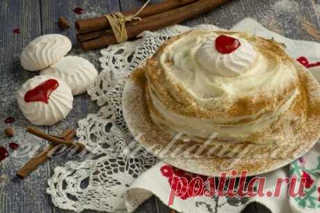 Блинный торт с заварным кремом, рецепт с фото
