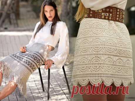 Красивые юбки вязанные крючком - схемы и описание