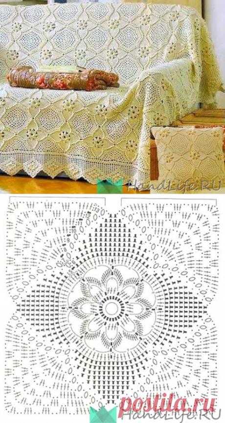Красивое вязаное покрывало из квадратных мотивов / Вязание