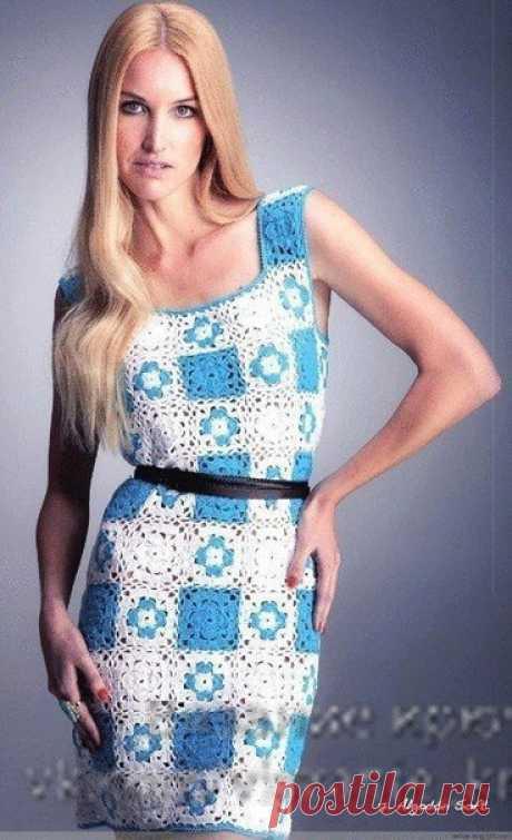 Двухцветное платье из мотивов