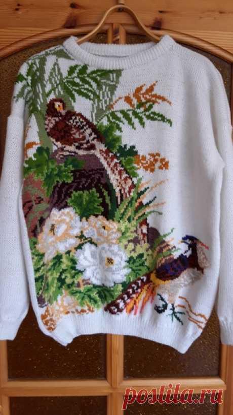 Knitting, handmade, Alize Lanagold 800, intarsija.