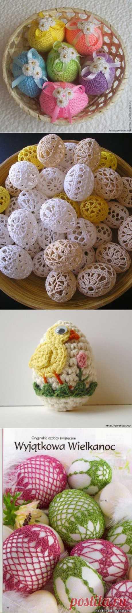 Вязаный декор пасхальных яиц - мк и схемы.