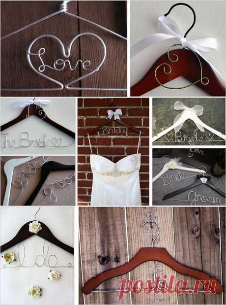 Вешалка с проволочной надписью для свадебного платья!