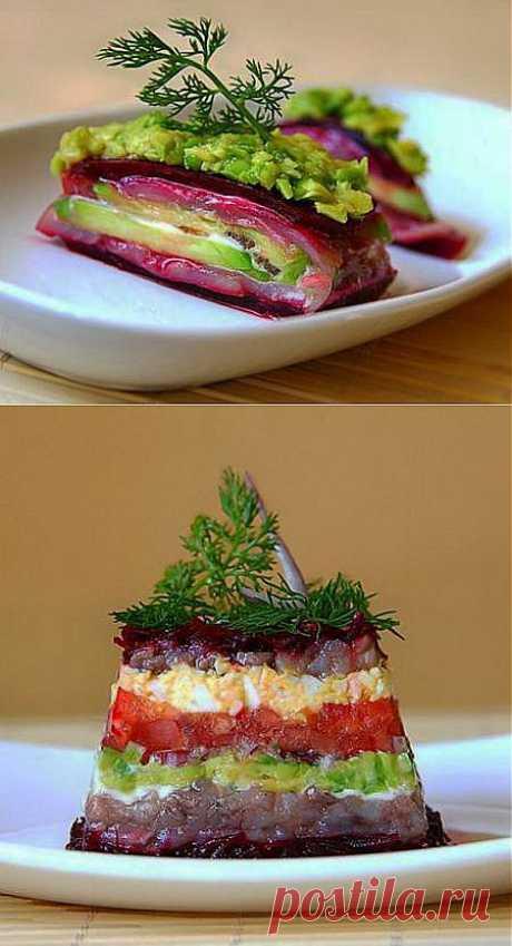 Салат из авокадо с сельдью и свеклой » Кулинарная книга рецептов с фотографиями