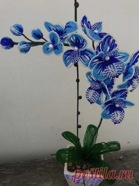 Голубая орхидея | biser.info - всё о бисере и бисерном творчестве