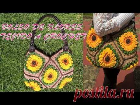 Bolso de Flores tejido a crochet o gancho paso a paso en video tutorial
