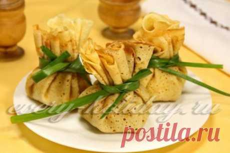 Блинные мешочки с начинкой из картофеля и брынзы