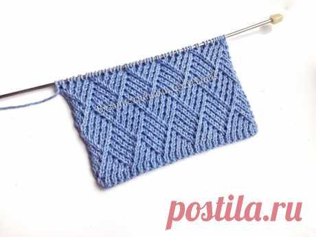 Оригинальный узор Ромбы из диагоналей для вязания теплых свитеров, платьев, пледов   Вязание спицами CozyHands   Яндекс Дзен