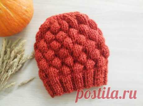 Теплая шапка объемным узором «Пузырьки» спицами » «Хомяк55» - всё о вязании спицами и крючком