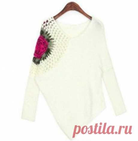 Асимметричный пуловер, связанный спицами и крючком — Делаем руками