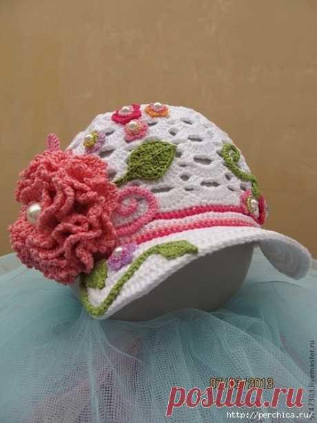Шляпки и шапки - Кепка-бейсболка с козырьком и цветами - МК