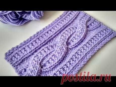 Коса спицами платочой вязкой. Невероятно красивый узор для шапки, снуда или шарфа