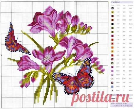 Orig- схема для вышивки крестом цветы и бабочки