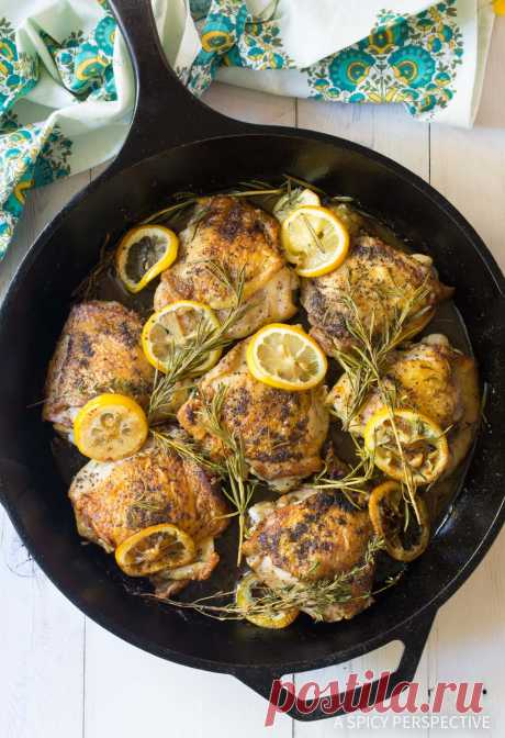 Perfect Baked Chicken Thighs (VIDEO) - A Spicy Perspective Perfect Baked Chicken Thighs: Crispy on the outside, juicy on the inside, and devilishly delicious this is restaurant-style chicken thighs.