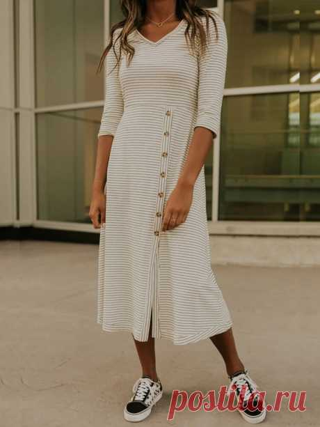 Women Cotton Simple Stripe Button Designer Split Hem V-Neck Maxi Dress - US$21.99