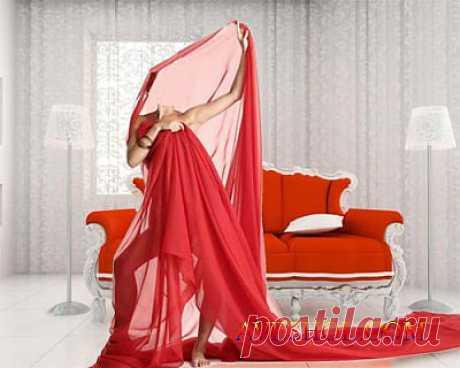 Шаблон женский - Девушка обмотана красной тканью » ШКОЛА ПЛЮС