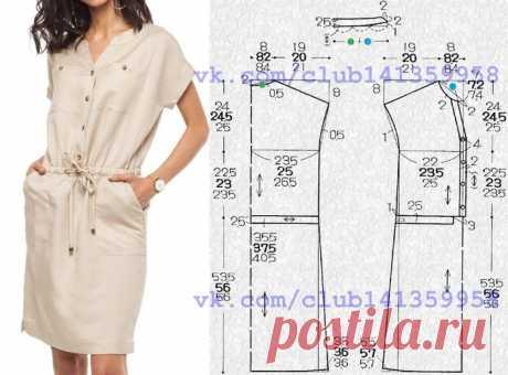 030730ec3332045 Платье-рубашка VILATTE. Выкройки на размеры 42, 44, 48.