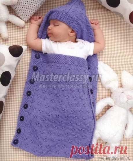Спальник - конверт спицами  для новорожденного своими руками