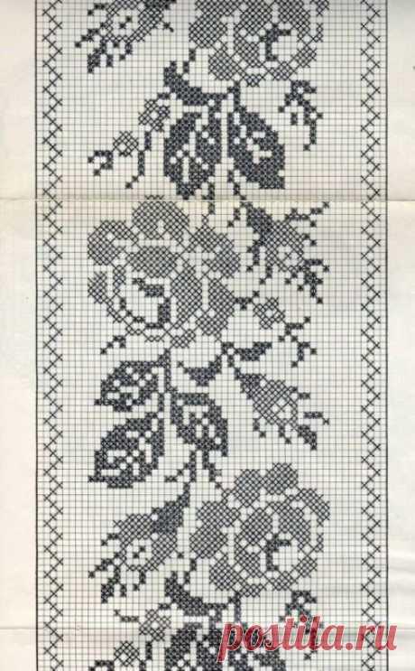 Подборка цветочных узоров для филейного вязания из категории Интересные идеи – Вязаные идеи, идеи для вязания