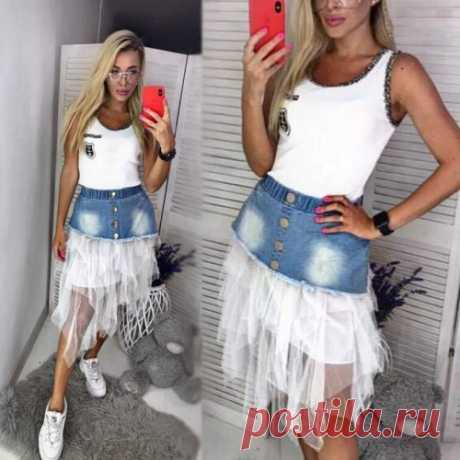Юбка джинс и фатин | стильная юбка, смотри фото, покупай тренды у нас. Скидки всем.