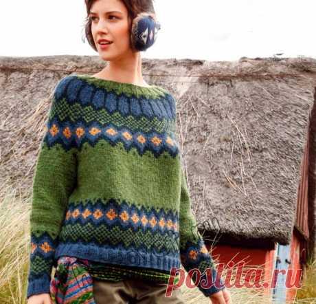 Джемпер жаккардом - Хитсовет Модный вязаный жаккардом джемпер с круглой кокеткой со схемой и пошаговым бесплатным описанием вязания.