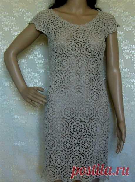 Платье из мотивов вязаное крючком. Платье крючком из отдельных мотивов | Домоводство для всей семьи.
