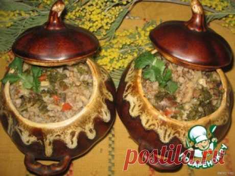 Ароматная гречка с сердечками и грибами в горшочках - кулинарный рецепт
