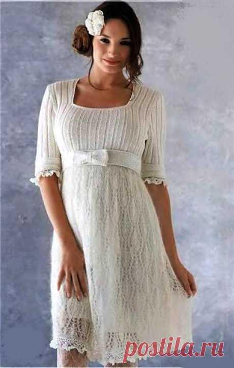 Летнее белое платье с фантазийным рисунком (Вязание на спицах и крючком) | Журнал Вдохновение Рукодельницы