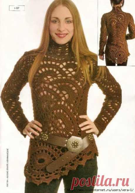 Ажурный пуловер ленточным кружевом