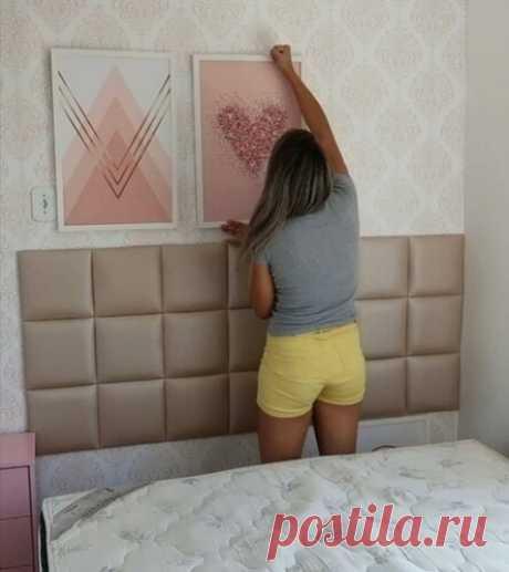 Креативная девушка показала, как украсила изголовье кровати самодельными панелями: оказалось, сейчас так делают многие