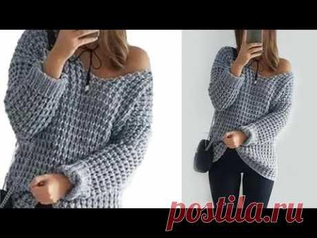 Модный ,стильный свитер спицами.Очень лёгкий узор спицами.