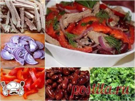 """САЛАТ """"АЛЕКСАНДРИЯ"""" Вкусный салат с восхитительной заправкой. Салат получается сытным, но не жирным, так как не содержит майонез. Вместо свинины, можно использовать другое мясо, даже курятину. Ингредиенты: 400 г отварного мяса, 1 банка красной фасоли, 1 стручок болгарского перца (салат будет более ярким, если добавить по половинке разного цвета), 1 головка красного лука, пучок зелени (кинза, укроп, базилик, петрушка),"""
