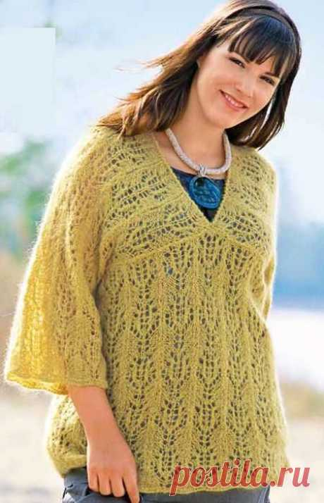 Желтый ажурный пуловер из мохера спицами | Ажурные Узоры