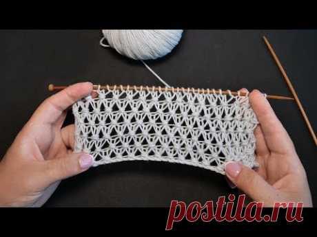Узор «Сетка с узелками» спицами | «Grid of knots» knitting patterns