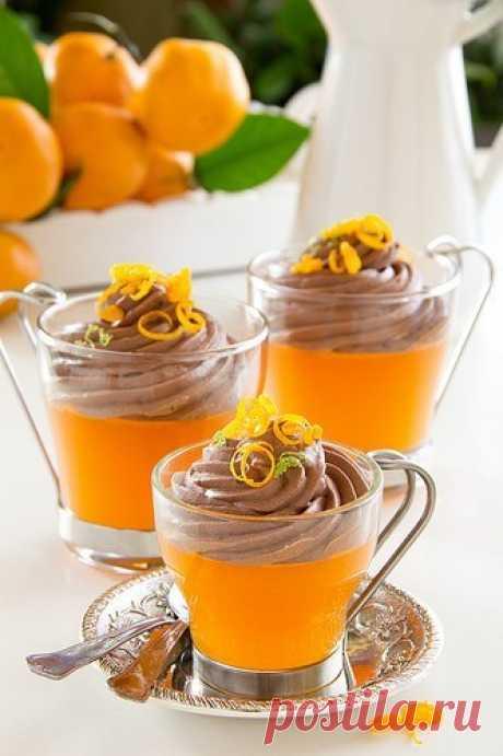 """Потрясающий новогодний десерт """"Мандариновое желе под шоколадным муссом"""""""