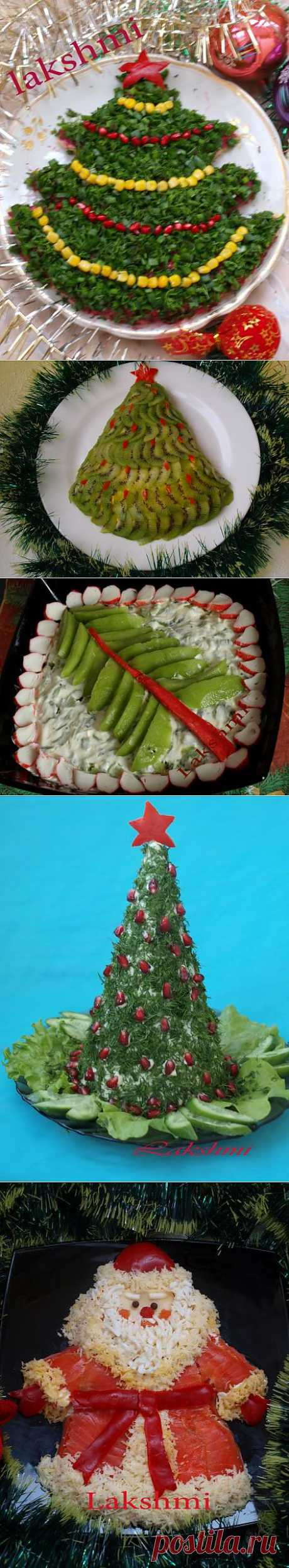 Оформление новогодних салатов.