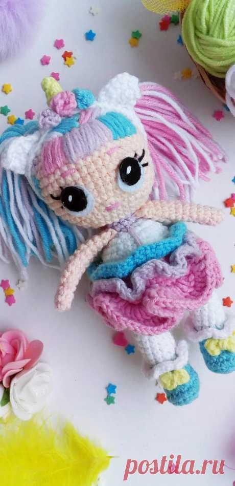 "PDF Кукла Лол ""Единорожка"" крючком. FREE crochet pattern; Аmigurumi doll patterns. Амигуруми схемы и описания на русском. Вязаные игрушки и поделки своими руками #amimore - Кукла LOL, куколка, doll puppet, muñeca boneca, poupée, puppe, panenka, bebek, lalka. Amigurumi doll pattern free; amigurumi patterns; amigurumi crochet; amigurumi crochet patterns; amigurumi patterns free; amigurumi today."