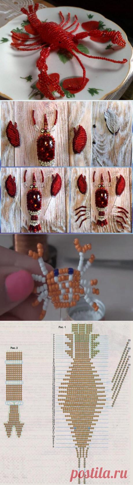 Рак из бисера своими руками ▶ Мастер-класс со схемами и фото | Domigolki.ru