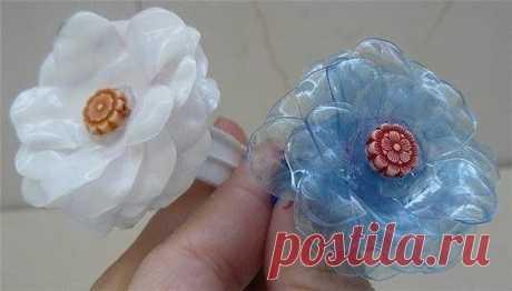 Flowers from plastic bottles