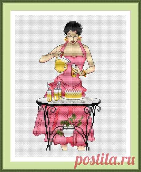 Схема вышивки крестом A Lady Pouring Drinks - Клуб вышивки крестом