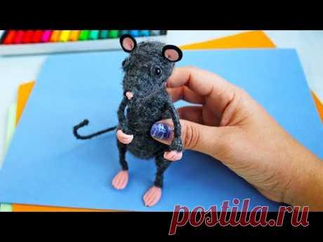 Игрушка Крыса из ниток своими руками* DIY rat made of thread.