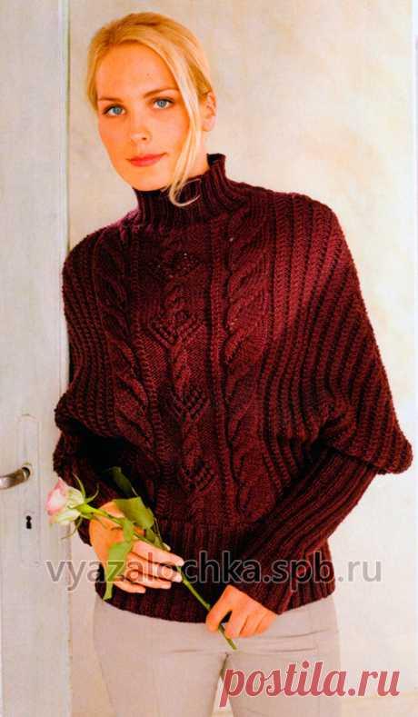 """Узорчатый пуловер с рукавами """"летучая мышь"""""""