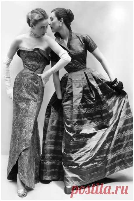 Helen Connor (l) and Myrtle Crawford (r)  From The Gown – Vogue  – Sept 1951  Photo Don Honeyman