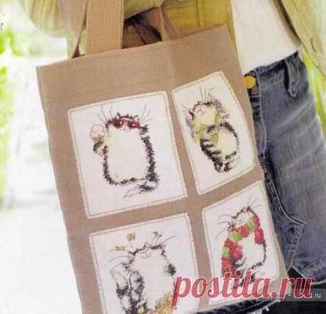 Коты - схема вышивки