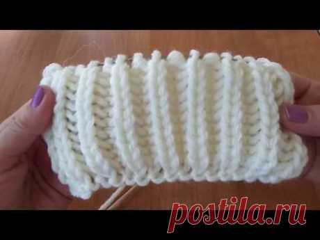 Пышная резинка простым способом. Вязание спицами.