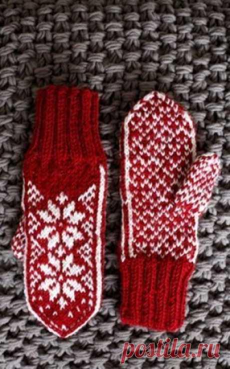 Красно-белые варежки жаккардом Для вязания варежек Вам потребуется: пряжа Novita 7 Veljesta (75% шерсть, 25% полиамид, 100 м/50 г) по 50 г красного и белого цветов, носочные спицы №3,5 и №4.  Резинка 2×2: вяжите попеременно 2 лиц. п. и 2 изн. п.