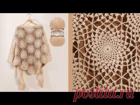 Angora Gold ile Ortanca Motifli Şal | Shawl Tutorial | Изготовление Шали