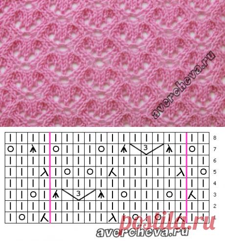 Узор 722 «ажурные ячейки» | каталог вязаных спицами узоров