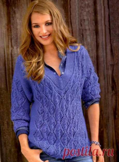 Пуловер с ажурными косами (Вязание спицами) – Журнал Вдохновение Рукодельницы